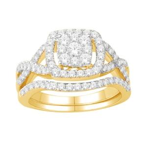 Everlasting Love® 1.00 CT.T.W Diamond Halo Bridal Set in 14K Gold