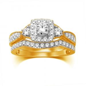 7/10 CT.T.W. Diamond Bridal Set in 14K Gold