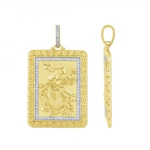 Ovani 22® 0.64 CT.T.W. Diamond Dragon Pendant in 22K Gold