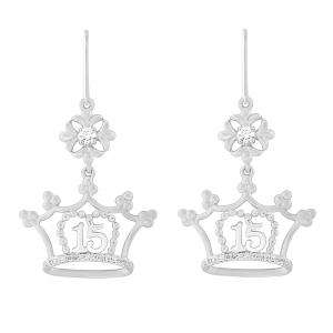 Sweet 15 Girls 1/4 CT.T.W. Diamond Crown Earrings in 14K Gold