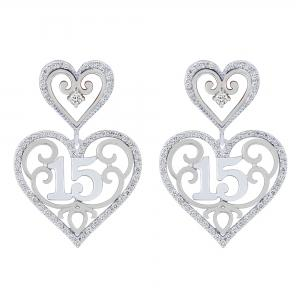 Sweet 15 Girls 1/2 CT. T.W. Diamond Heart Earrings In 14K Gold