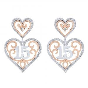 Sweet 15 Girls 1/2 CT.T.W. Diamond Heart Earrings in 14K Gold