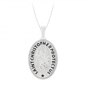 1/4 CT. T.W. Diamond Saint Christopher Pendant In 14K Gold