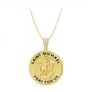 0.11 CT.T.W. Diamond Saint Michael Pendant in 14K Gold