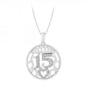 Sweet 15 Girls 0.13 Ct.t.w. Diamond Pendant in 14K Gold