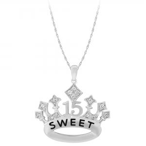 Sweet 15 Girls 1/4 CT.T.W. Diamond Crown Pendant in 14K Gold