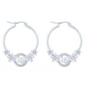 Sweet 15 Girls 1/4 CT. T.W. Diamond Hoop Earring In 14K Gold