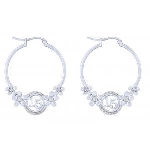 Sweet 15 Girls 1/4 CT.T.W. Diamond Hoop Earring in 14K Gold