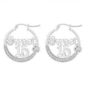 Sweet 15 Girls 1/4 CT. T.W. Diamond Hoop Earrings In 14K Gold