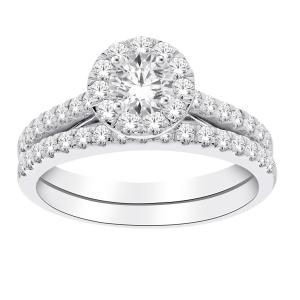 Diani® Collection 0.30 CT. Center and 1.00 CT. T.W. Diamond Bridal Set In 14K Gold