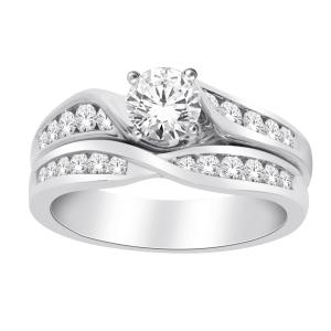 Diani® Collection 0.40 CT. Center and 1.00 CT. T.W. Diamond Bridal Set In 14K Gold