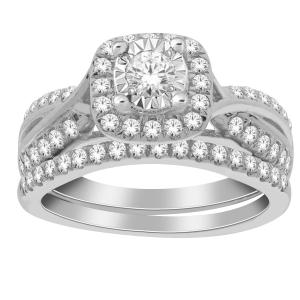 Diani® 1.00 CT.T.W. Diamond Bridal Set in 14K Gold