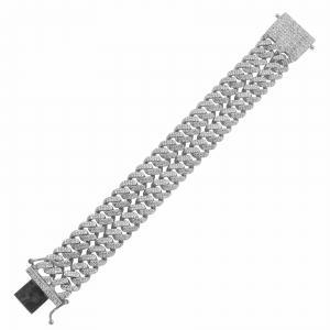 13 1/10 CT.T.W. Diamond Double Cuban Chain Bracelet in 14K Gold