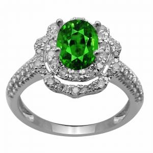 0.61 CT. T.W. Diamond And Emerald Lady'S Ring In 14K Gold