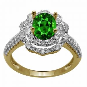 0.61 Ct.t.w. Diamond And Emerald Ladys Ring in 14K Gold