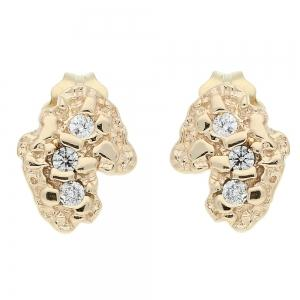 4/25 CT.T.W. Diamond Nugget Earrings in 14K Gold