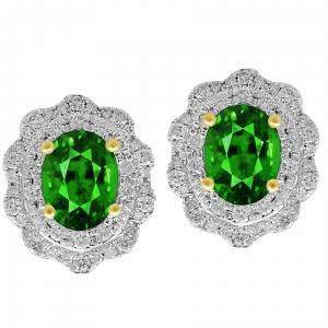 0.76 Ct.t.w. Diamond And Emerald Earrings in 14K Gold