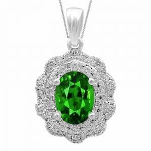 2.00 CT. T.W. Emerald And 0.40 CT. T.W. Diamond Pendat In 14K Gold