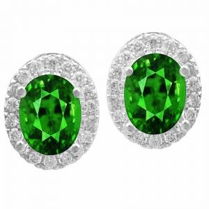 2.50 CT. TW. Emerald and 0.35 CT. T.W. Diamond Earrings In 14K Gold