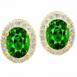0.35 CT.T.W. Diamond and Emerald Earrings in 14K Gold
