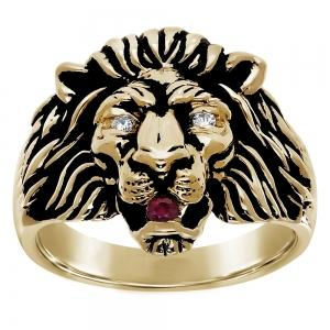 Lion Head Gents Ring in 14K Gold