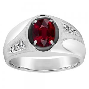 2.00 CT. T.W. Ruby With 1/10 CT. T.W. Diamonds Gents Ring In 14K Gold