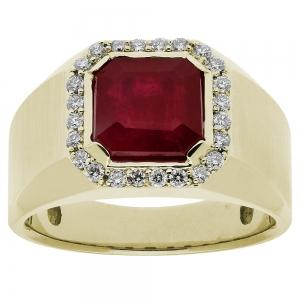 5.00 CT RUBY with 0.38 CT.T.W Diamond Gents Ring in 14K Gold