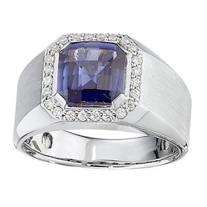 5.00 CT. T.W. Sapphire With 0.38 CT. T.W Diamond Gents Ring In 14K Gold