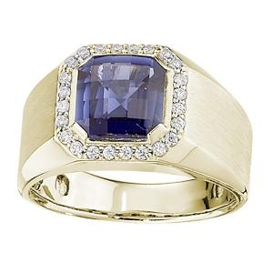 5.00 CT Sapphire with 0.38 CT.T.W Diamond Gents Ring in 14K Gold