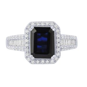2.30 CT. T.W. Sapphire And 1/2 CT. T.W. Diamond Ring In 14K Gold