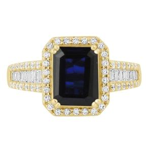 Sapphire and 1/2 CT.T.W. Diamond Ring in 14K Gold