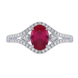 Ruby and 1/4 CT.T.W. Diamond Ring in 14K Gold