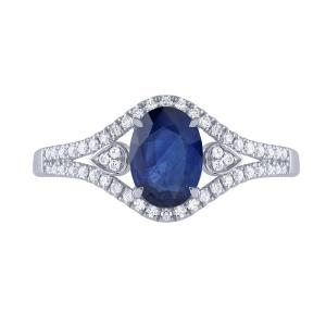 Sapphire and 1/4 CT.T.W. Diamond Ring in 14K Gold