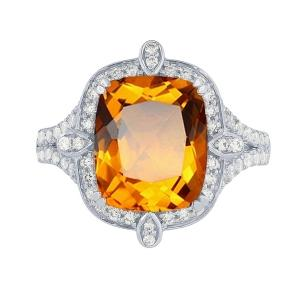 Citrine and 1/2 CT.T.W. Diamond Ring in 14K Gold