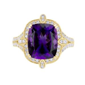 Amethyst and 1/2 CT.T.W. Diamond Ring in 14K Gold