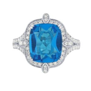 Blue Topaz and 1/2 CT.T.W. Diamond Ring in 14K Gold