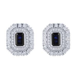 1.20 CT. T.W. Sapphire And 0.33 CT. T.W. Diamond Earrings In 14K Gold