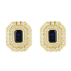 Sapphire and 0.33 CT.T.W. Diamond Earrings in 14K Gold