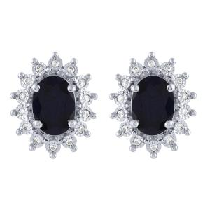 1.80 CT. T.W. Sapphire And 1/10 CT. T.W. Diamond Earrings In 14K Gold