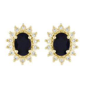 Sapphire and 1/10 CT.T.W. Diamond Earrings in 14K Gold
