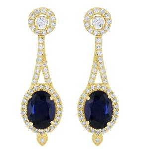 Sapphire and 0.63 CT.T.W. Diamond Earrings in 14K Gold