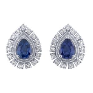 1.55 CT. T.W. Sapphire And 0.15 CT. T.W. Diamond Earrings In 14K Gold