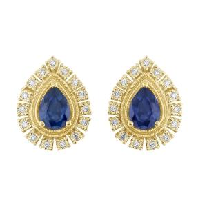 Sapphire and 3/20 CT.T.W. Diamond Earrings in 14K Gold