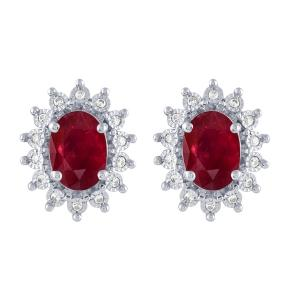 2.15 CT. T.W. Ruby And 1/10 CT. T.W. Diamond Earrings In 14K Gold