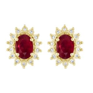 Ruby and 1/10 CT.T.W. Diamond Earrings in 14K Gold