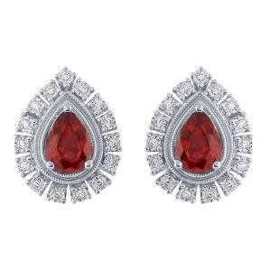 2.00 CT. T.W. Ruby And 0.15 CT. T.W. Diamond Earrings In 14K Gold