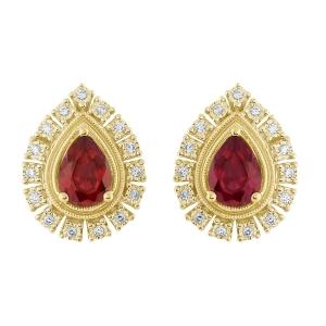 Ruby and 3/20 CT.T.W. Diamond Earrings in 14K Gold