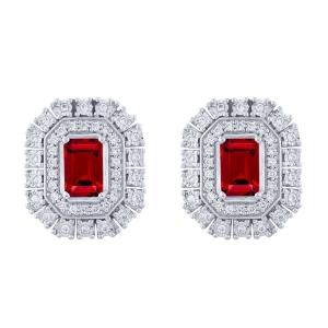 1.80 CT. T.W. Ruby And 0.33 CT. T.W. Diamond Earrings In 14K Gold