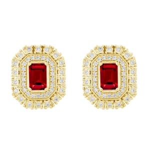 Ruby and 0.33 CT.T.W. Diamond Earrings in 14K Gold