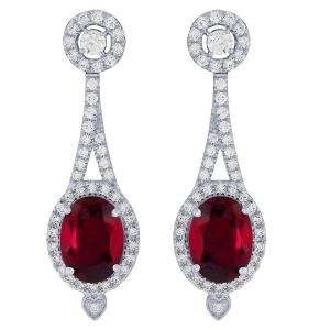 3.50 CT. T.W. Ruby And 0.63 CT. T.W. Diamond Earrings In 14K Gold